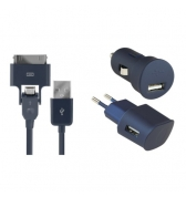 Pack de charge 3 en 1 Colorblock Blue Moon pour iPhone et telephones micro USB