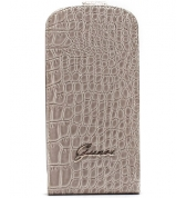 Etui à rabat finition croco glossy. Beige Galaxy SIII Mini