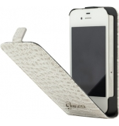 Etui à rabat finition croco glossy. Beige iPhone 4/4S