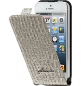 Etui à rabat finition croco glossy. Beige iPhone 5