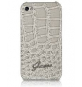 Coque rigide finition croco glossy. Beige iPhone 4/4S