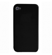 Coque silicone noire SILISOFT avec prot&egrave;ge &eacute;cran iPhone 4/4S 