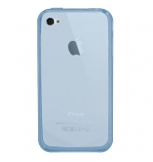 Coque silicone bleue clair avec prot&egrave;ge &eacute;cran iPhone 4 