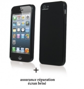 Coque minigel noir glossy et screen care pour Apple iPhone 5