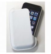 Etui vertical Blanc simili cuir lateral iPhone 3g 3gs