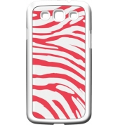 Coque made in France zèbre blanc et corail pour Samsung Galaxy S3 I9300