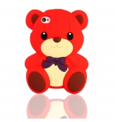 Coque ourson silicone rouge pour iPhone 4 / 4S