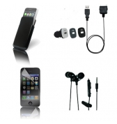 Pack nomade iphone4/4S avec housse cuir noir kit pieton stereo glossy noir minicac